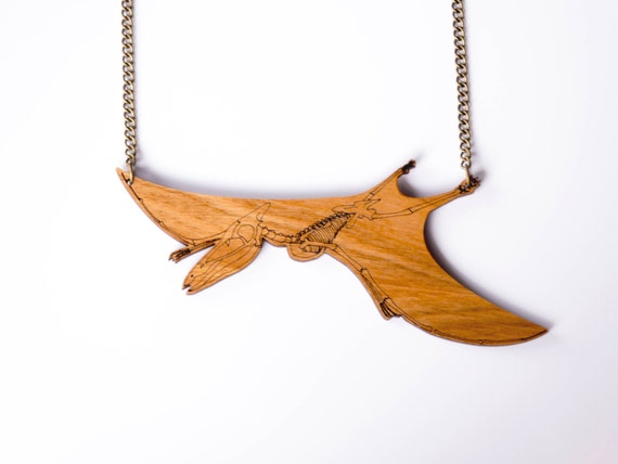 Pterodactyl Skeleton Dinosaur Necklace. Pterodactly Bones. Statement Necklace. Dinosaur Jewellery. Laser Cut Wood Dino Necklace. Laser cut