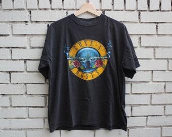 Vintage 1980s GUNS N ROSES Shirt U.S. T's concert tour Axl Rose rock hair metal 80s shirt slash