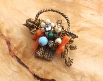 Vintage Coro Basket Brooch with Textured Detail,Faux Coral,Pearls,Crystals and Beads,Brass Basketweave Body