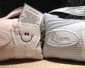 Personalized Tooth Fairy Hanging Mini Pillow  in Pink or Blue Stripe