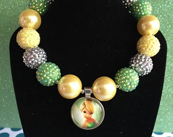 Tinkerbell Peter Pan Fairy Dust Birthday Boutique Green Yellow Disney World Toddler Chunky Beaded Bubblegum Necklace
