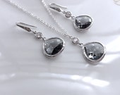 Gorgeous crystal grey Jewelry set,bridal wedding bridesmaid jewelry set,dark grey glass crystal stone necklace earrings set,tear drop