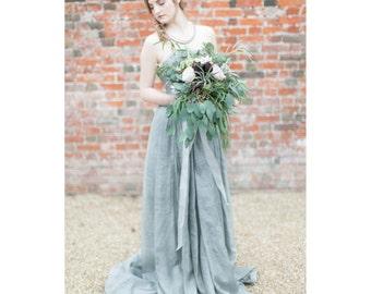 Oscar - BESPOKE Hand Dyed Blue Grey  Strapless Wedding Gown - Vegan - Peace Silk - Eco - Boho - Embellished - Lace