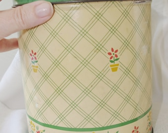 Vintage Tin Kitchen Canister: Green Cream Plaid & Flowers 1950s 50s