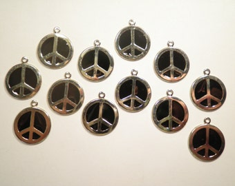 12 Silverplated Black Enameled Peace Sign Charms Pendants