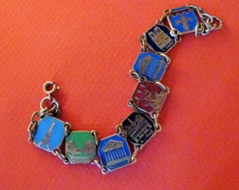 Vintage french  Religious bracelet Souvenir Paris enamel Antique Old jewelry 6/mi