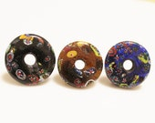 Large Glass African Donut Beads, India Trade Beads, Ethnic Jewelry Supplies (Y96)