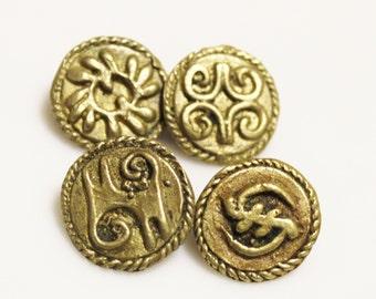 Adinkra Symbol Buttons BI NKA BI, Gye Nyme, Kwatakye Atiko, Dwennimmen (Q90)