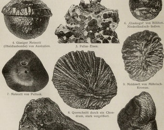 1897 Antique print of METEORITES, different types. Astronomy. 119 years old plate