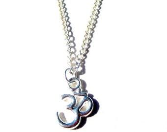 Silver Om Necklace. Ohm Necklace. Yoga Necklace. Om Necklace. Silver Necklace.