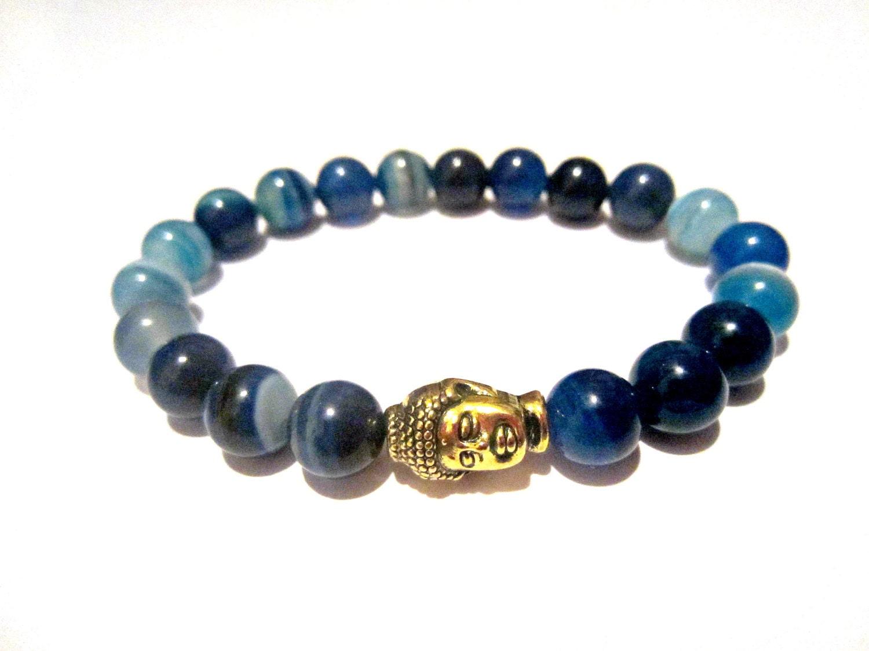 blue agate bracelet buddha bracelet blue by xenjewelry