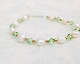 August Birthstone Peridot Colored Swarovski Crystal and Freshwater Pearls Adjustable Bracelet - BR30