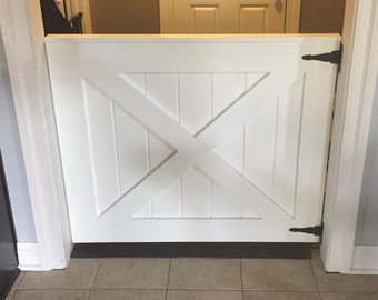 Custom Barn Door Baby Gate, White Painted Baby and Pet Gate