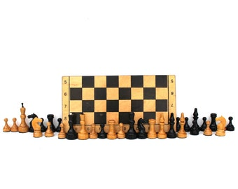 Soviet chess set Russian Chess Soviet chess full set Vintage chess Wood chess Gift for chess player Tactical games Vintage board game