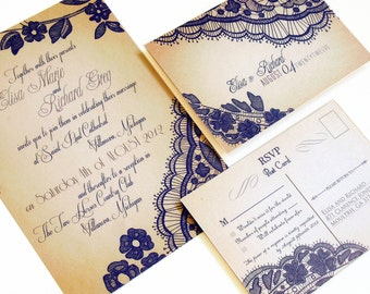 Rustic Lace Wedding Invitations - Wedding Invitation sample {Bellevue Design}