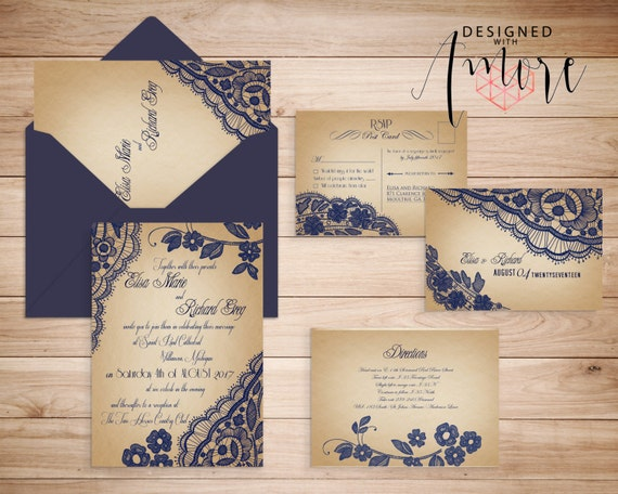 Lace Printable Wedding Invitations - Printable Wedding Invites Vintage Lace {Bellevue Design}