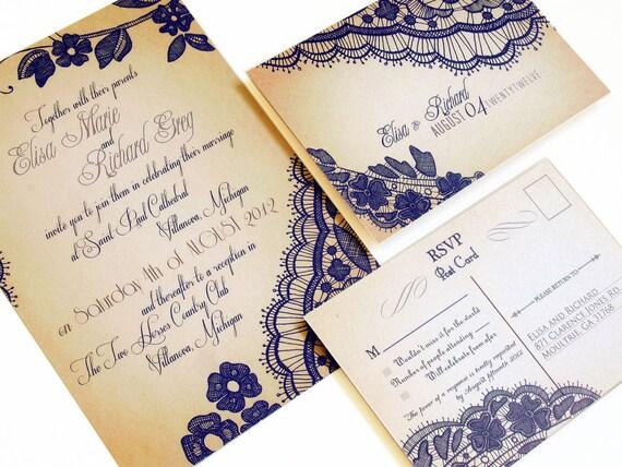 Rustic Lace Wedding Invitations - Wedding Invitation