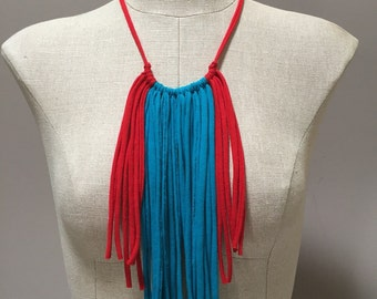 Fringe Statement Necklace - Repurposed, Upcycled, Eco-Friendly, Gift Under 30