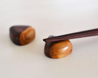 Set of Chopstick Rests - Wooden Chopstick Holders - Walnut and Oak