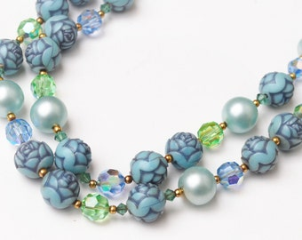double strand Bead necklace  - Dark Blue flower and  light blue pearl - crystal Glass Bead - Mid Century