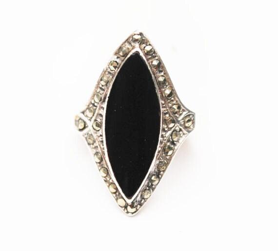 Onyx sterling Marcasite ring - size 7 - sterling silver - Black Onyx Gemstone -Art Deco