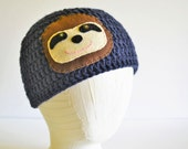 Sloth Hat, Crochet Hat, Crochet Animal Hat, Hat, Newborn Hat, Toddler Hat, Animal Hat, Photo Prop, Sloth, Baby Hat, Sloths, Kids Hat,