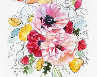 "Poppies III - 8x10"" Print"