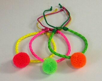 Friendship Bracelets 3 Bracelets Neon Friendship Bracelet Pom pom Bracelet Leather Bracelet Stack Bracelet Neon Bracelet Colorful bracelet