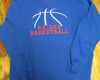 Long sleeve basketball tshirt customized with your team and colors