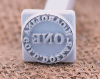 """Custom Stamp 20 X 20mm / 4/5"""" X 4/5""""  For PMC, Art Clay, Metal Clays, Polymer Clay, Fimo."""