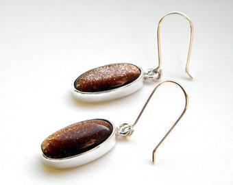 Goldstone sterling silver earrings