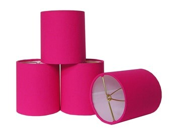 Chandelier Shade Sconce Clip-On Lamp Shade Lampshade Linen Hot Pink Made to Order