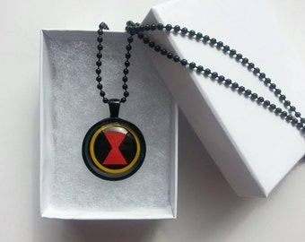 Black Widow Avengers Glass Pendant Necklace