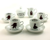 Beauty and the Beast Coffee Espresso Set Altered Sugar Pot Creamer 4 Cup Silhouette Belle Rose Beaumont Unique Vintage Porcelain Brown White