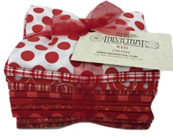 This 'N That Fat Quarter Red Fabric Bundle of 10 - total 2.5 yds