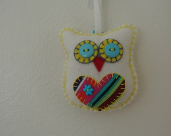 Snowy White Felted Wool Owl with Rainbow Colors
