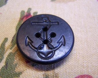 "Antique Large Bakelite Black Anchor Button 1-1/4"" Diameter (1707)"