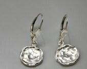 SALE 30% OFF Sterling silver coin earrings, Sterling silver drop earrings, Hammered Disc Earrings, hammered earrings