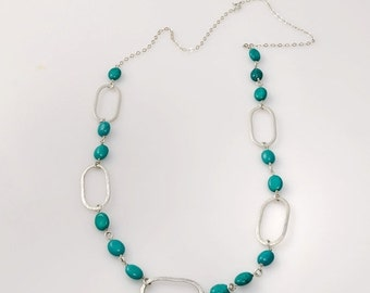 VALENTINE SALE 30% OFF Oval- sterling silver necklace with Turquoise Hammered oval and Smooth oval one of a kind,  Jewelry Handmade