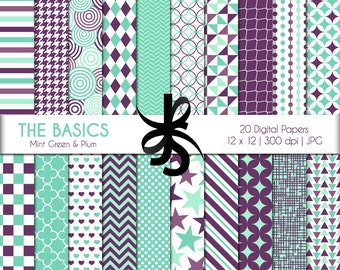Digital Scrapbook Papers-The Basics-Mint Green and Plum-Geometric-Mint and Purple-Patterns-Background-Printable-Instant Download Clip Art