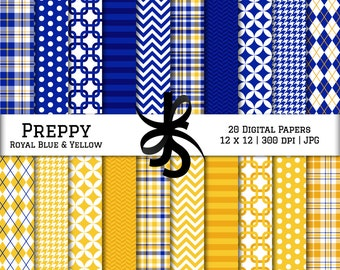 Digital Scrapbook Papers-Royal Blue and Yellow-Preppy-Navy Blue-Chevron-Argyle-Plaid-Stripes-Blue and Gold-Instant Download Clip Art