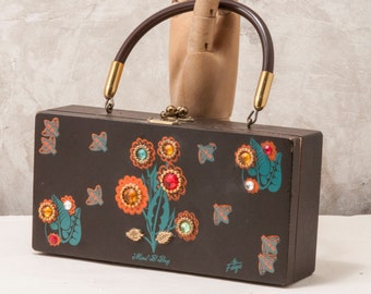 Vintage 1960s wooden box bag by Faye,mini-b-bag. jeweled, similar to Enid Collins