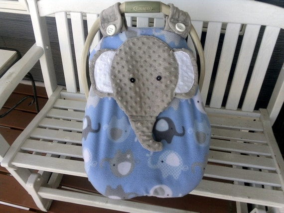 made to order boy 39 s fitted fleece elephant car seat canopy. Black Bedroom Furniture Sets. Home Design Ideas