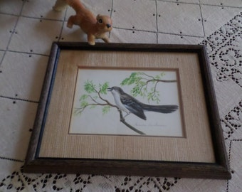 Vintage Frances Anderson-Charm Craft-Jackson Mississippi-Mockingbird Picture/Frame/Wall Hanging