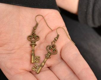 Bronze Key Earrings