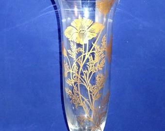 Poppy Flower Glass Vase with 22K Gold Poppy, Silver City Glass, 22K Gold Trim, Vintage Elegant Vase