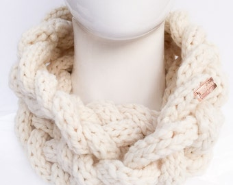 Braided Knit Scarf, Knit Cowl, Knit Infinity Scarf, Knit Neck Warmer, Winter Accessories, Cream, Beige, Christmas Gifts, Gifts under 30