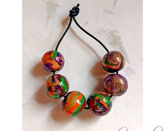 Polymer Clay Round Beads Gold Orange Green Red Glitter Purple Passion Bead Series