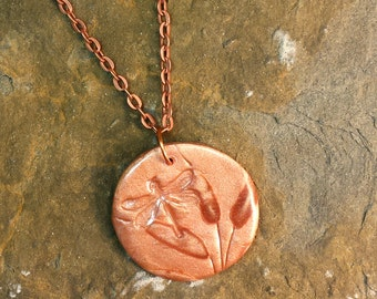 "Dragonfly Cattail Pendant Necklace Polymer Clay Faux Ceramic 24"" Copper Chain"
