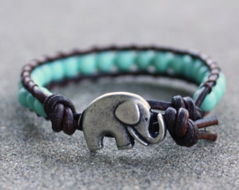 turquoise beaded leather wrap bracelet lucky elephant boho bohemian gypsy hippie yoga bracelet